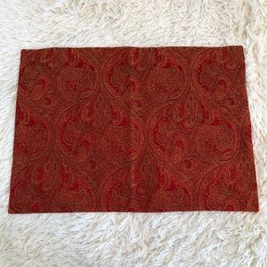 Crate & Barrel Set of 7 Placemats Red Gold Paisley